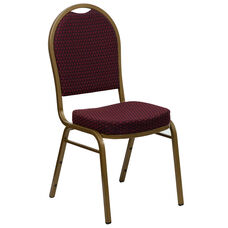 HERCULES Series Dome Back Stacking Banquet Chair in Burgundy Patterned Fabric - Gold Frame