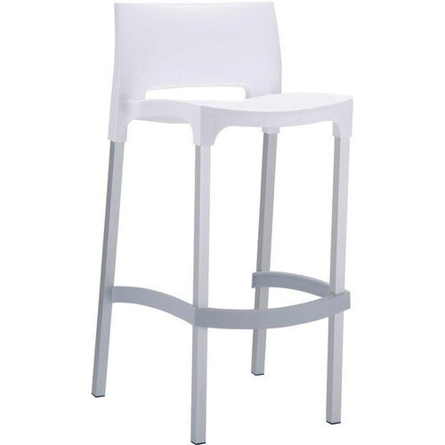 Our Domenica Lightweight Stackable Barstool with Matte Aluminum Legs - White is on sale now.