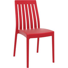 Soho Modern Outdoor Resin Stackable High Back Dining Chair - Red