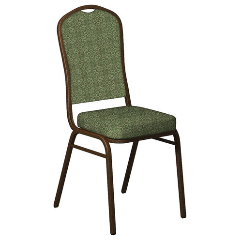 Embroidered Crown Back Banquet Chair in Faith Herb Fabric - Gold Vein Frame