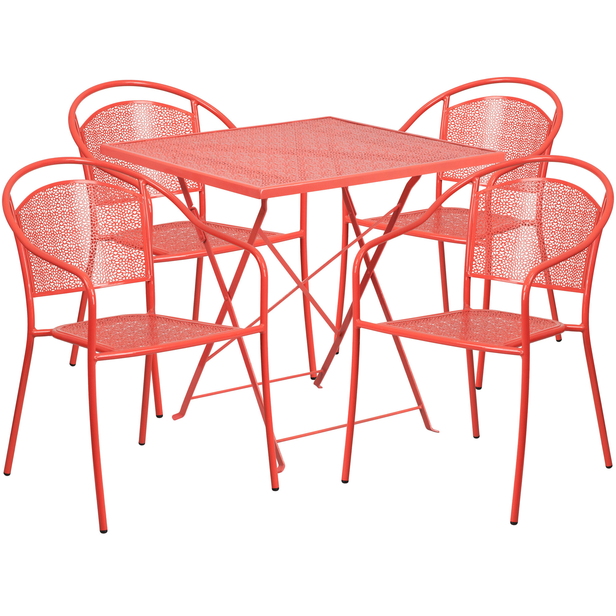 Peachy Commercial Grade 28 Square Coral Indoor Outdoor Steel Folding Patio Table Set With 4 Round Back Chairs Gmtry Best Dining Table And Chair Ideas Images Gmtryco