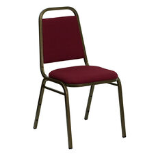 HERCULES Series Trapezoidal Back Stacking Banquet Chair in Burgundy Fabric - Gold Vein Frame
