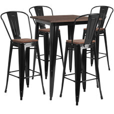 "31.5"" Square Black Metal Bar Table Set with Wood Top and 4 Stools"