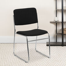 HERCULES Series 500 lb. Capacity Black Fabric High Density Stacking Chair with Chrome Sled Base