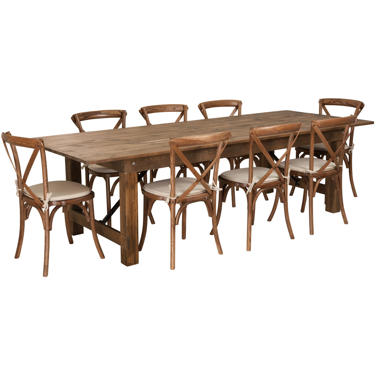 ... Our HERCULES Series 9' x 40'' Antique Rustic Folding Farm Table Set with - 9'x40