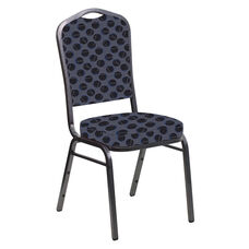 Embroidered Crown Back Banquet Chair in Cirque Graphite Fabric - Silver Vein Frame