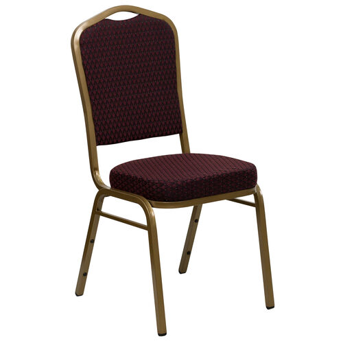 Our HERCULES Series Crown Back Stacking Banquet Chair in Burgundy Patterned Fabric - Gold Frame is on sale now.
