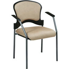 Pro-Line II Upholstered Contour Back Stacking Visitors Chair with Arms and Titanium Finish Frame - Camel