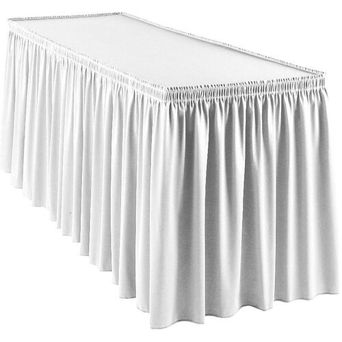 Our Wyndham 13 Foot Shirred Pleat Table Skirt with SnugTight™ Clips - White is on sale now.