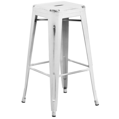 """Our Commercial Grade 30"""" High Backless Distressed White Metal Indoor-Outdoor Barstool is on sale now."""