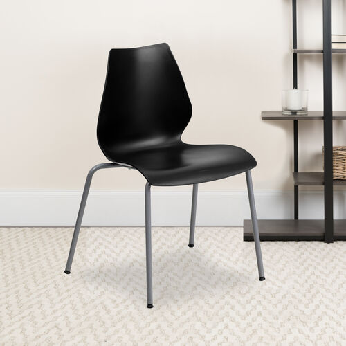 Our HERCULES Series 770 lb. Capacity Black Stack Chair with Lumbar Support and Silver Frame is on sale now.