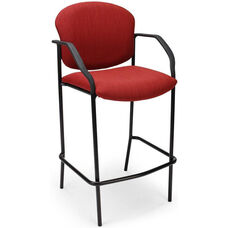 Deluxe Black Steel Frame Stackable Cafe Chair with Arms - Cranberry