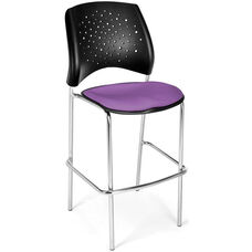 Stars Cafe Height Chair with Fabric Seat and Chrome Frame - Plum