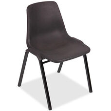 Lorell Black Plastic Stacking Chairs with Steel Frame - Set of 4