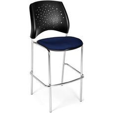 Stars Cafe Height Chair with Fabric Seat and Chrome Frame - Navy