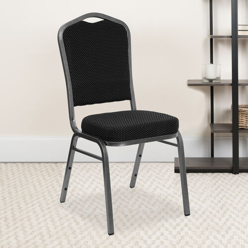HERCULES Series Crown Back Stacking Banquet Chair in Black Dot Patterned Fabric - Silver Vein Frame