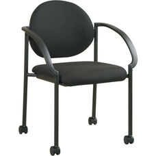Work Smart Stack Chairs with Padded Seat, Back, and Casters - Icon Black