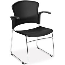 Multi-Use Stack Chair with Plastic Seat and Back with Arms - Black