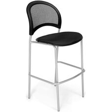 Moon Cafe Height Chair with Fabric Seat and Silver Frame - Black