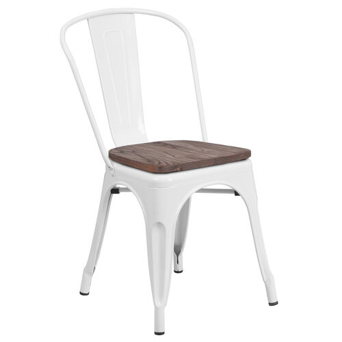 Our White Metal Stackable Chair with Wood Seat is on sale now.
