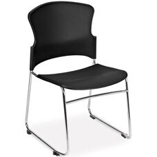 Multi-Use Stack Chair with Plastic Seat and Back - Black