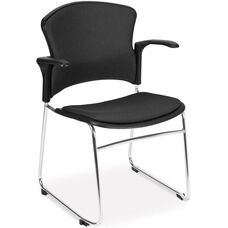 Multi-Use Stack Chair with Fabric Seat and Back with Arms - Black