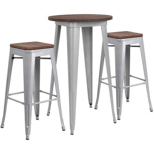 """Our 24"""" Round Silver Metal Bar Table Set with Wood Top and 2 Backless Stools is on sale now."""