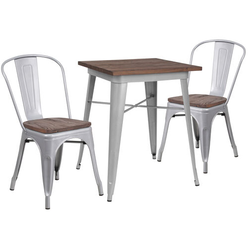 """Our 23.5"""" Square Silver Metal Table Set with Wood Top and 2 Stack Chairs is on sale now."""
