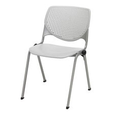 2300 KOOL Series Stacking Poly Armless Chair with Perforated Back and Silver Frame - Light Grey