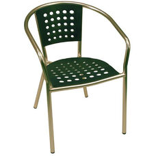 South Beach Hand Polished Tubular Aluminum Stackable Club Chair - Green