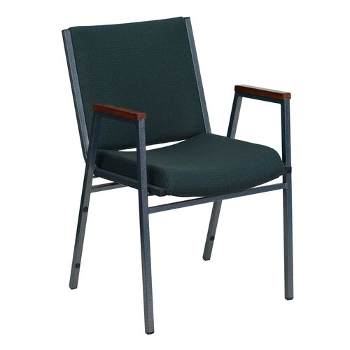 Our HERCULES Series Heavy Duty Green Patterned Fabric Stack Chair with Arms is on sale now.