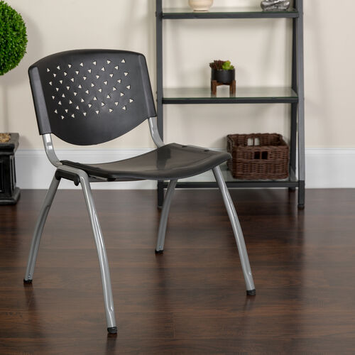 Our HERCULES Series 880 lb. Capacity Black Plastic Stack Chair with Titanium Gray Powder Coated Frame is on sale now.