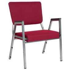 HERCULES Series 1500 lb. Rated Burgundy Antimicrobial Fabric Bariatric Arm Chair with 3/4 Panel Back and Silver Vein Frame