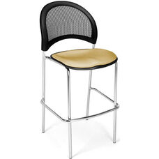 Moon Cafe Height Chair with Fabric Seat and Chrome Frame - Golden Flax