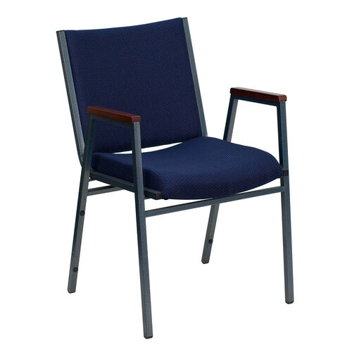 Our HERCULES Series Heavy Duty Navy Blue Dot Fabric Stack Chair with Arms is on sale now.