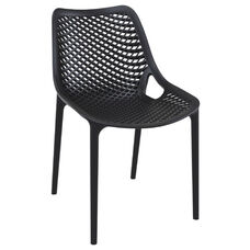 Air Modern Resin Outdoor Dining Chair - Black