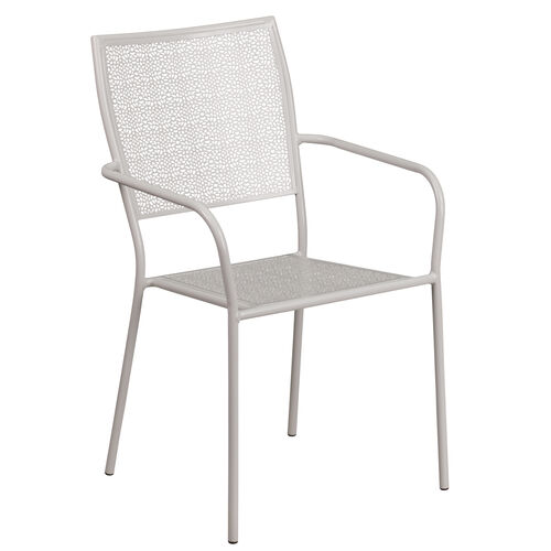 Our Commercial Grade Light Gray Indoor-Outdoor Steel Patio Arm Chair with Square Back is on sale now.