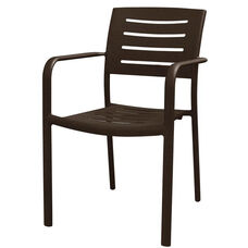 Adele Outdoor Aluminum Stackable Dining Arm Chair - Espresso Vein