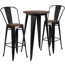 """24"""" Round Black Metal Bar Table Set with Wood Top and 2 Stools"""