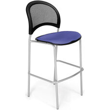 Moon Cafe Height Chair with Fabric Seat and Silver Frame - Colonial Blue