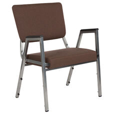HERCULES Series 1500 lb. Rated Brown Antimicrobial Fabric Bariatric Arm Chair with 3/4 Panel Back and Silver Vein Frame