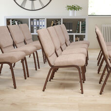 HERCULES Series 18.5''W Stacking Church Chair in Beige Fabric - Copper Vein Frame