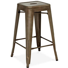 Dreux Rustic Matte Steel Stackable Counter Stool - Set of 4