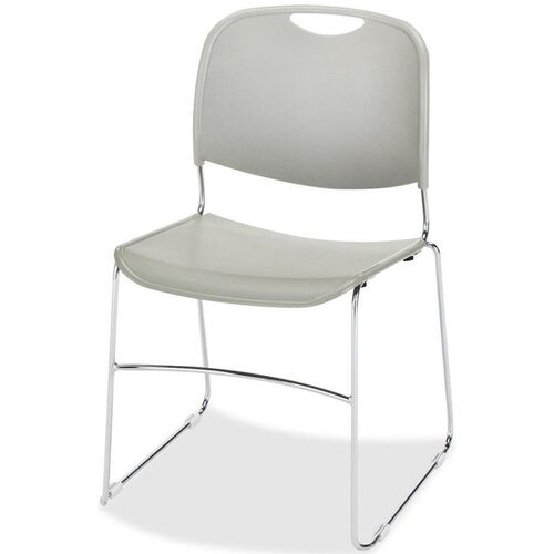 Our Lorell Gray Plastic Lumbar Support Stacking Chair with Chrome Wire Frame - Set of 4 is on sale now.