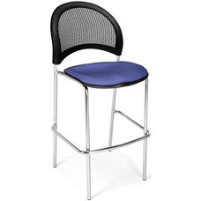 Moon Cafe Height Chair with Fabric Seat and Chrome Frame - Colonial Blue