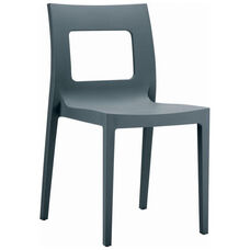 Lucca Contemporary Resin Stackable Dining Chair with Square Back - Dark Gray