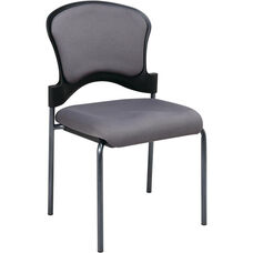 Pro-Line II Armless Upholstered Contour Back Stacking Visitors Chair with Titanium Finish Frame - Carbon