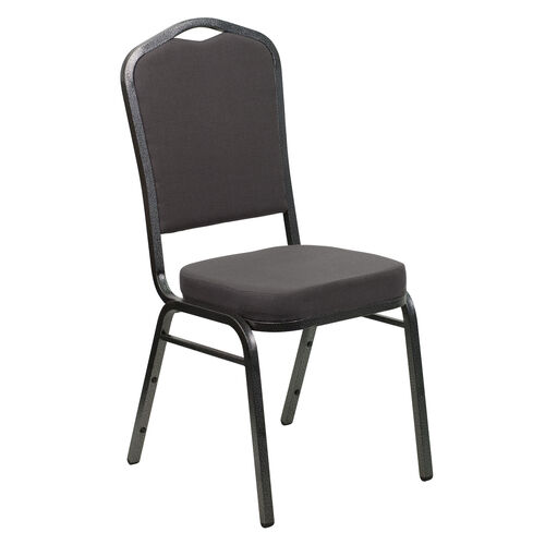 Our HERCULES Series Crown Back Stacking Banquet Chair in Gray Fabric - Silver Vein Frame is on sale now.