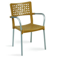 Gala Outdoor Resin Stackable Dining Arm Chair with Aluminum Arms and Legs - Teak