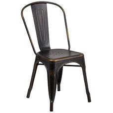 Distressed Copper Metal Indoor-Outdoor Stackable Chair